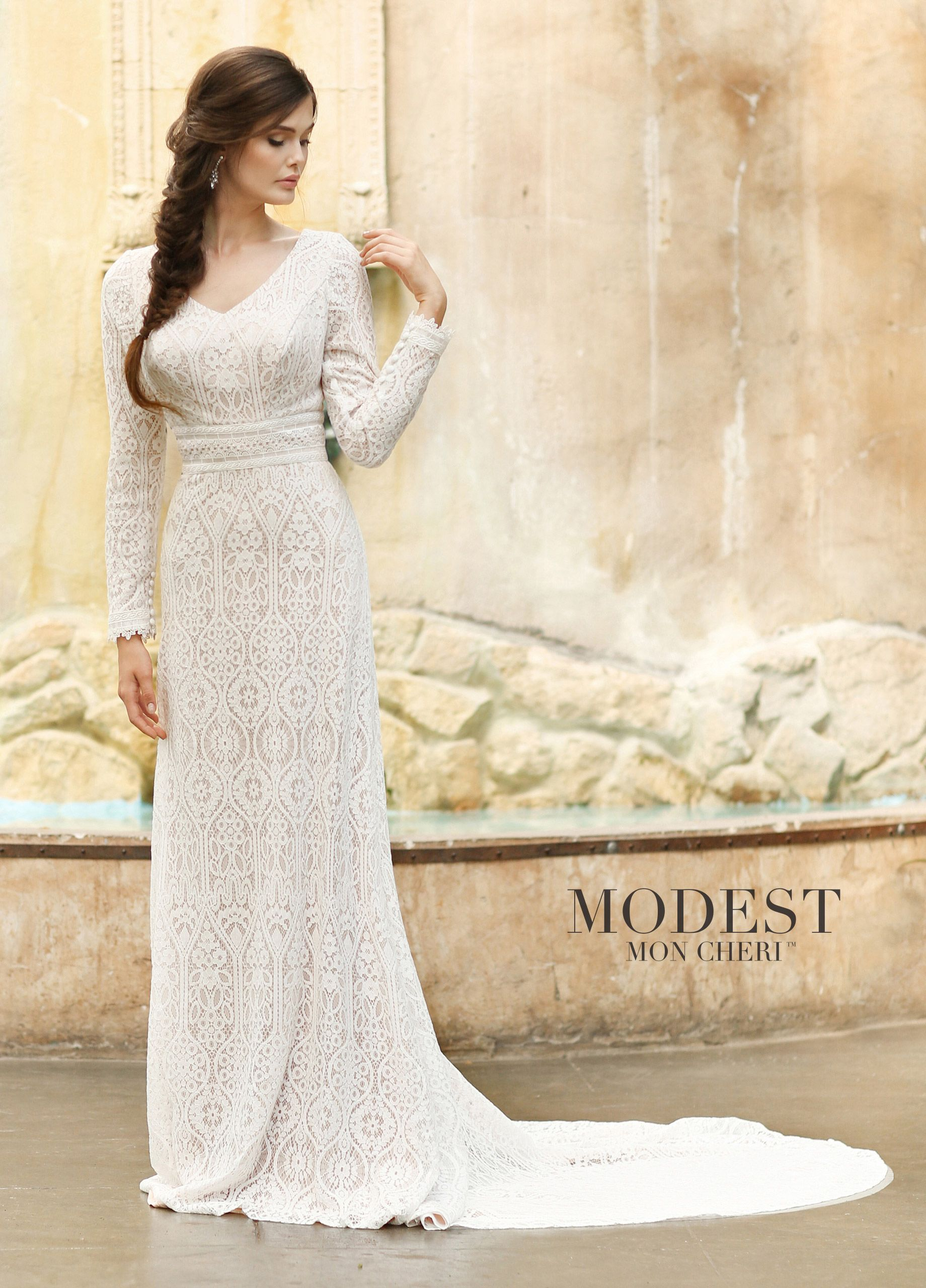 Soft Allover Lace Modest V Neckline Long Sleeve Wedding Dress In 2020 Mon Cheri Wedding Dresses Modest Wedding Dresses Wedding Dress Long Sleeve,Sweetheart Neckline Fairytale Wedding Dresses Ball Gown