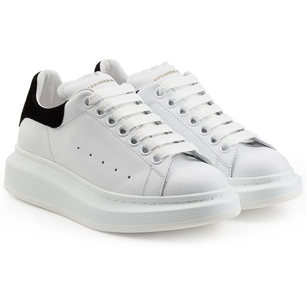 Alexander McQueen Leather Sneakers (3 075 SEK) ❤ liked on Polyvore featuring shoes, sneakers, white, leather sneakers, white lace up shoes, white leather sneakers, platform shoes and platform leather sneakers