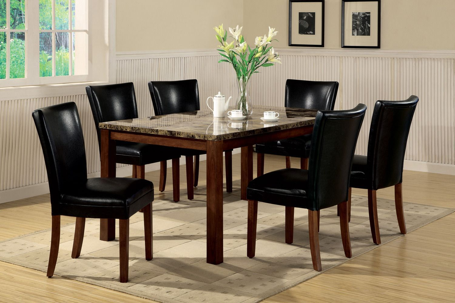 Telegraph Rectangluar Leg Table Dining Room Set Coaster Furniture Home Gallery Stores Dining Table Marble Marble Top Dining Table Cherry Dining Room Sets