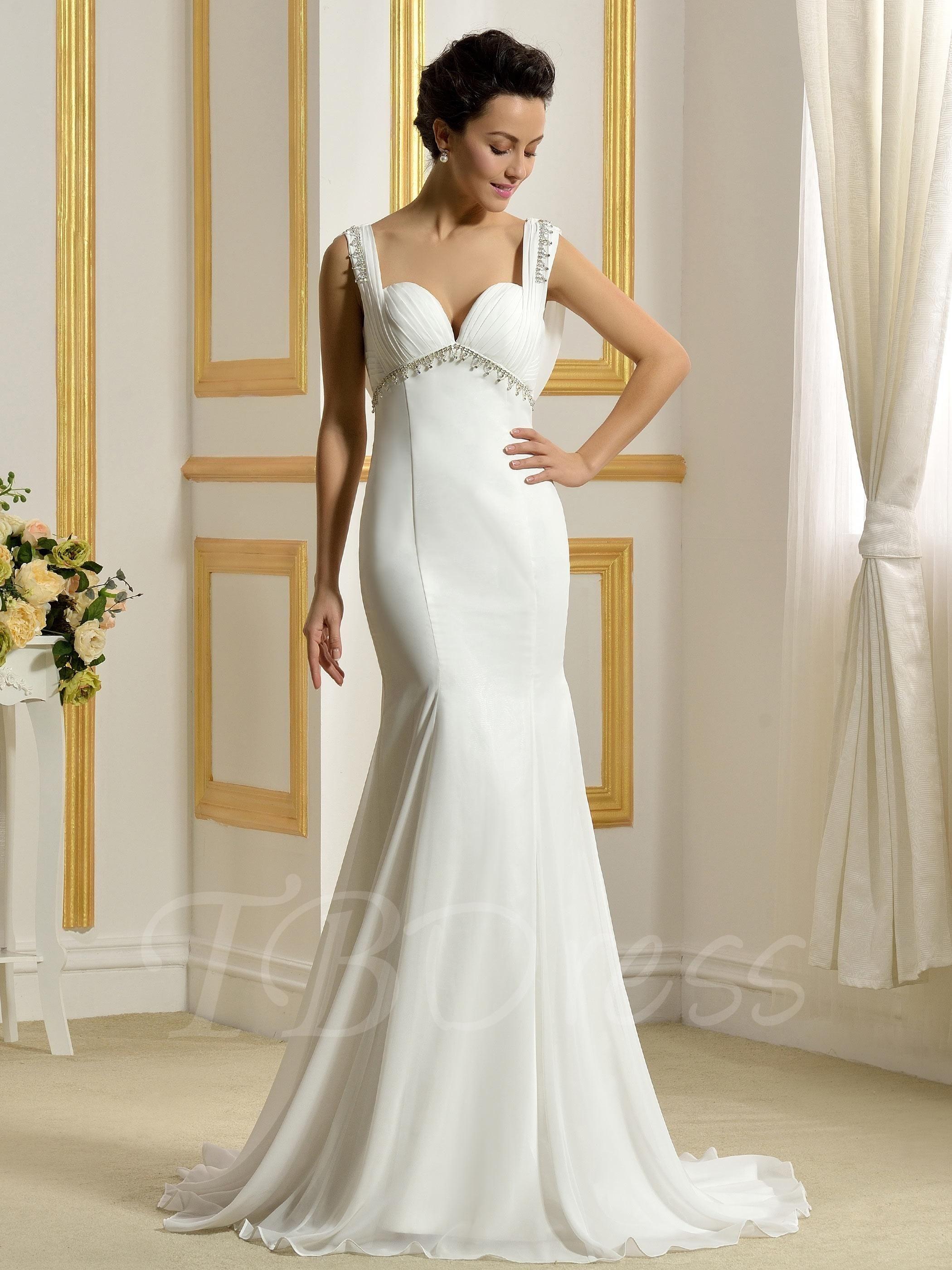 Lace dress gown  TBDress  TBDress Beading Chiffon Sweetheart Straps TrumpetMermaid