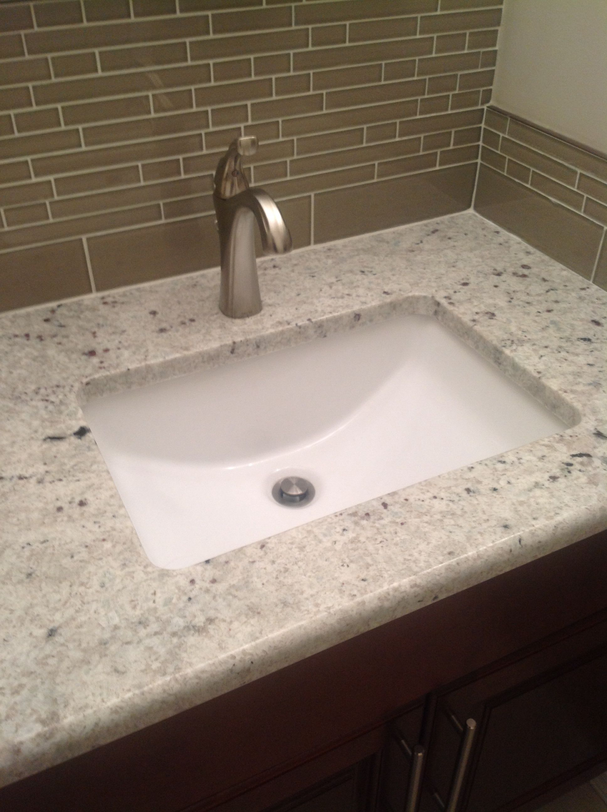 Bathroom Update Rectangle Undermount Sink Brushed Nickel Faucet Delta Addison Granite Counter Undermount Bathroom Sink Small Undermount Bathroom Sink Sink