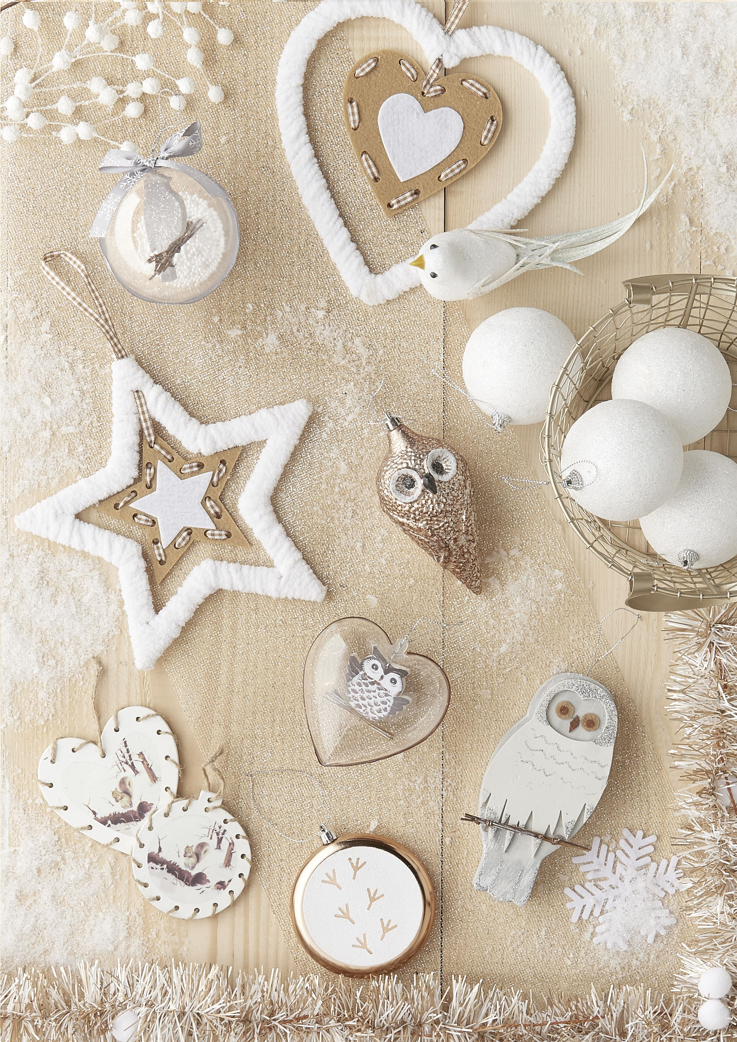 Sujets de no l blanc neige et or carrefour deco no l nature pinterest - Decoration de noel carrefour ...