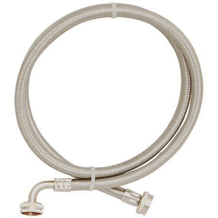 Eastman 48378 Washing Machine Hose With 90 Elbow 1 Pair By Ez Flo 15 44 3 8 Stainless Steel Brai Washing Machine Hose Appliance Accessories Chrome Plating