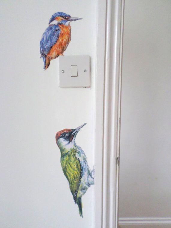 Woodpecker Wall Decal Bird Home Decor Bird Decals Green