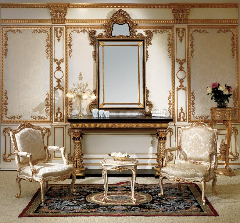 baroque style bedroom classic furniture entrance console and mirror in - Baroque Home Decor