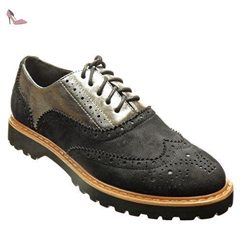 254d89417d907 Angkorly - Chaussure Mode Richelieu Derbies bi-matière femme perforée Talon  bloc 2.5 CM -