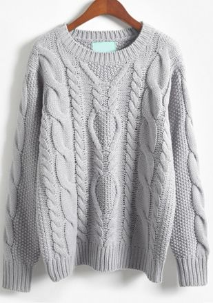 026aee62c2f Shop Grey Long Sleeve Batwing Cable Knit Sweater online. Sheinside offers  Grey Long Sleeve Batwing Cable Knit Sweater   more to fit your fashionable  needs.