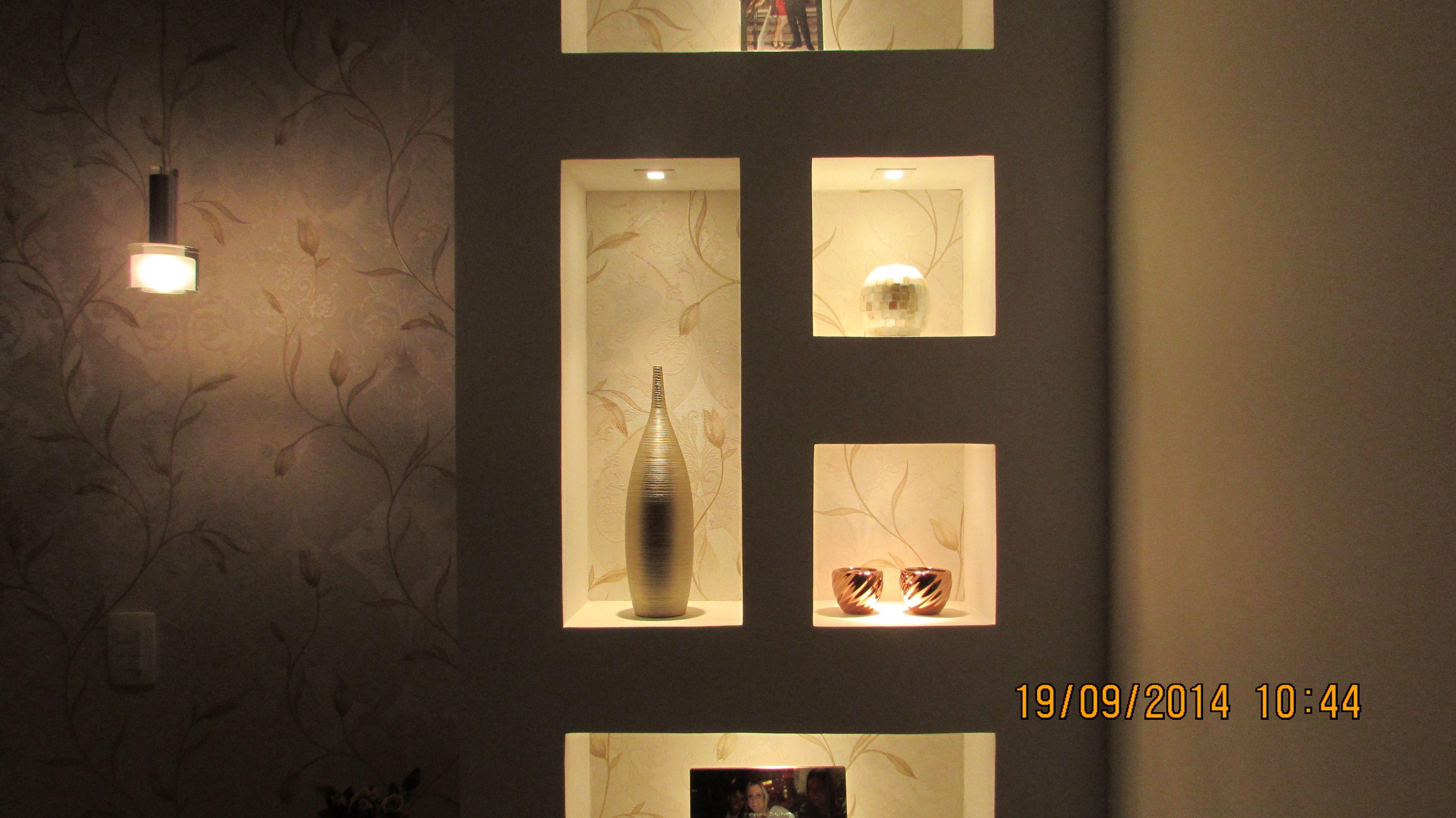 nicho de drywall com fita de led  Google Search  Nichos na sala, cozinha ou -> Nicho Banheiro Led