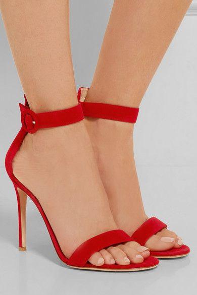 Gianvito Rossi Portofino 100 Suede Sandals - Red | Ankle strap, Ankle and  Sergio rossi