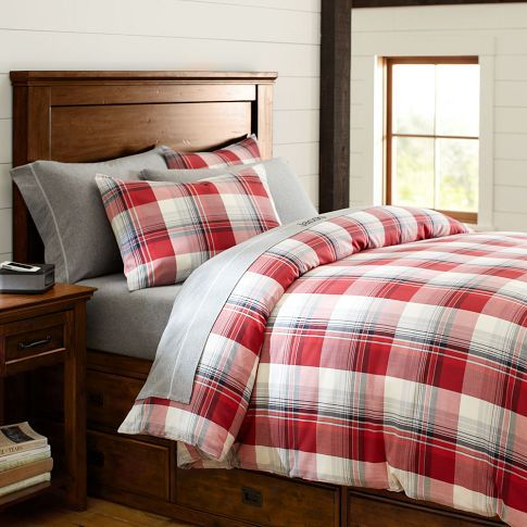 Field House Plaid Duvet Cover Sham Red From Pottery Barn Pb