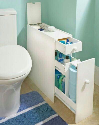 compact storage idea for small bathroom / idée de rangement pour