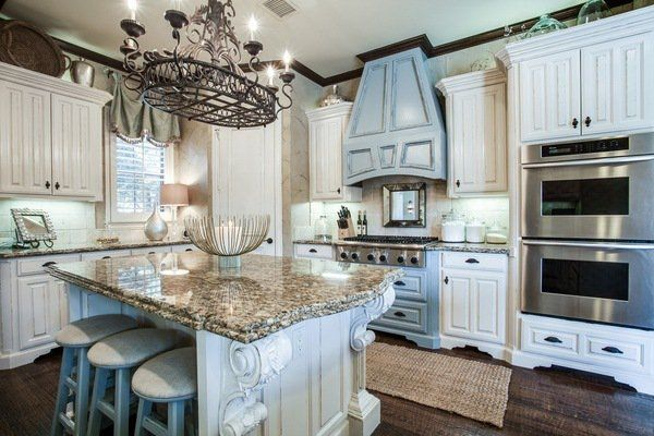 Santa Cecilia Granite Countertops Kitchen Ideas White Cabinets Blue Decorative Accents