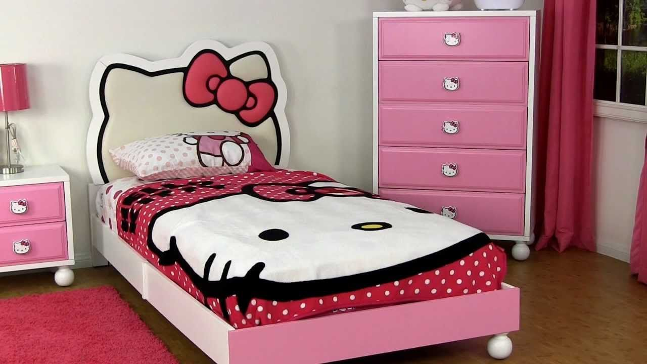 Bedrooms for girls hello kitty - Very Cute Twin Girls Bedroom Set With Hello Kitty Theme Showing Pink White Platform Bed And Hello Kitty Headboard And Bedding Also Pink White Drawers And