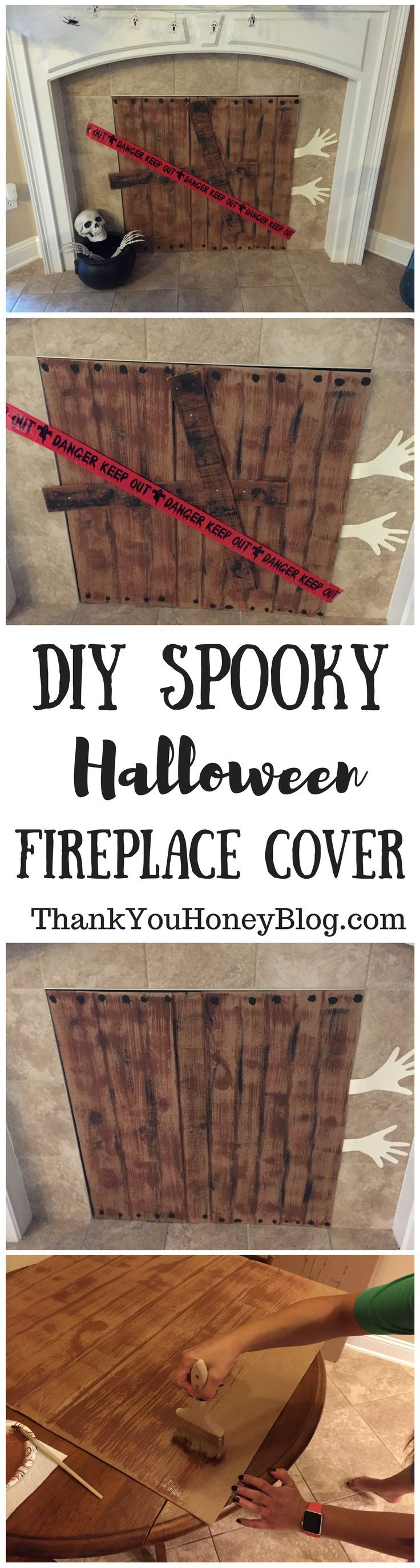 DIY Spooky Halloween Fireplace Cover Diy halloween