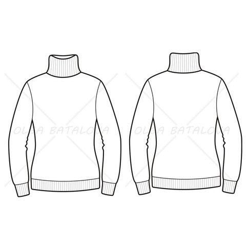 Women's Turtleneck Sweater Fashion Flat Template in 2019