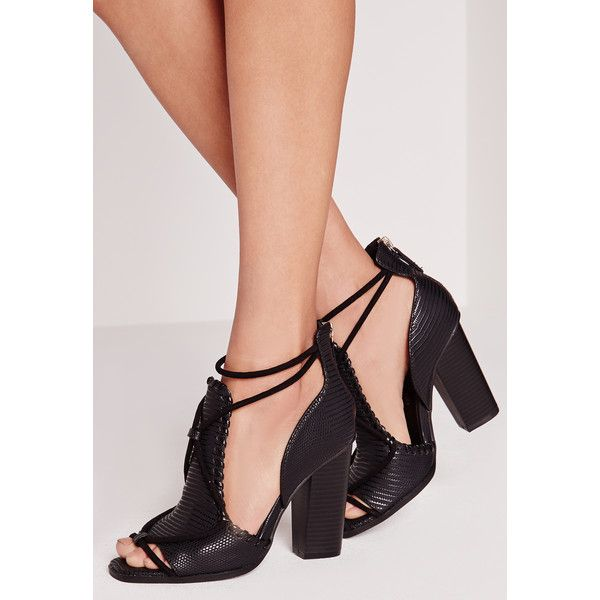 Missguided Contrast Rope Block Heeled Sandals 60 Liked On Polyvore Featuring Shoes Sandal With Images Black Block Heel Sandals Block Heels Sandal Black Sandals Heels