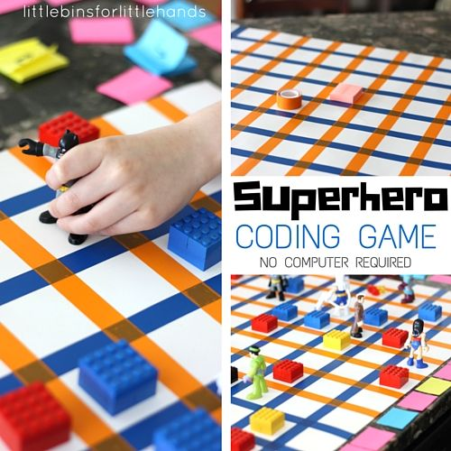 Make your own computer coding game without a computer. Learn basic computer coding skills with a fun superhero computer coding game you can make!