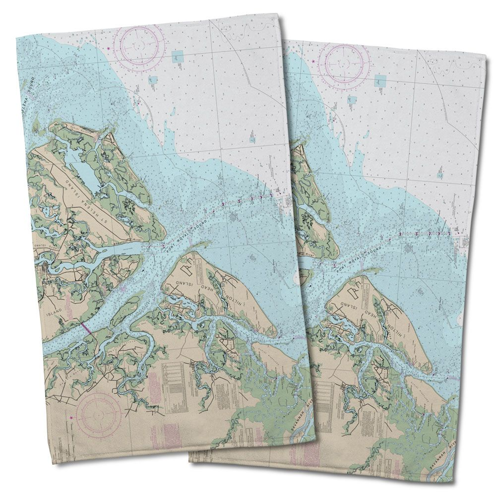 SC: Hilton Head Island, SC Nautical Chart Hand Towel (Set of 2 ...