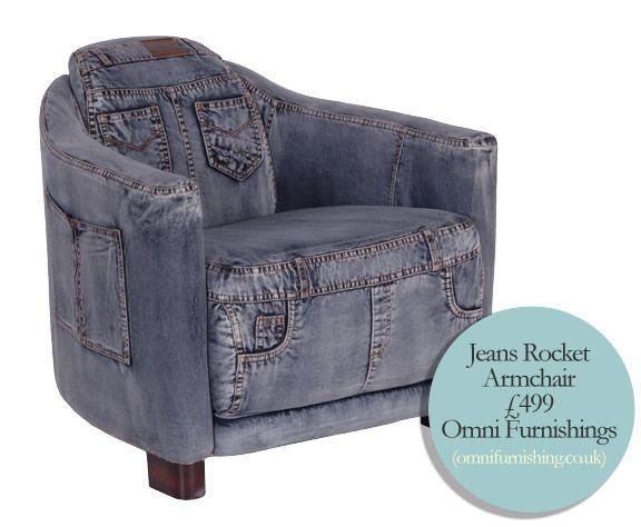 Omni furnishing denim chair ideen aus stoff pinterest for Ohrensessel jeans