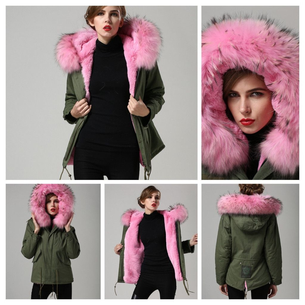 48d504d550cb Army Green Military Pink Real Fur Parka