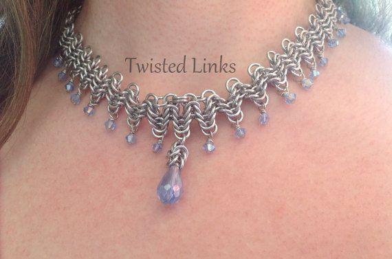 Chainmaille necklace Half Byzantine Waves by twistedlinksjewelry