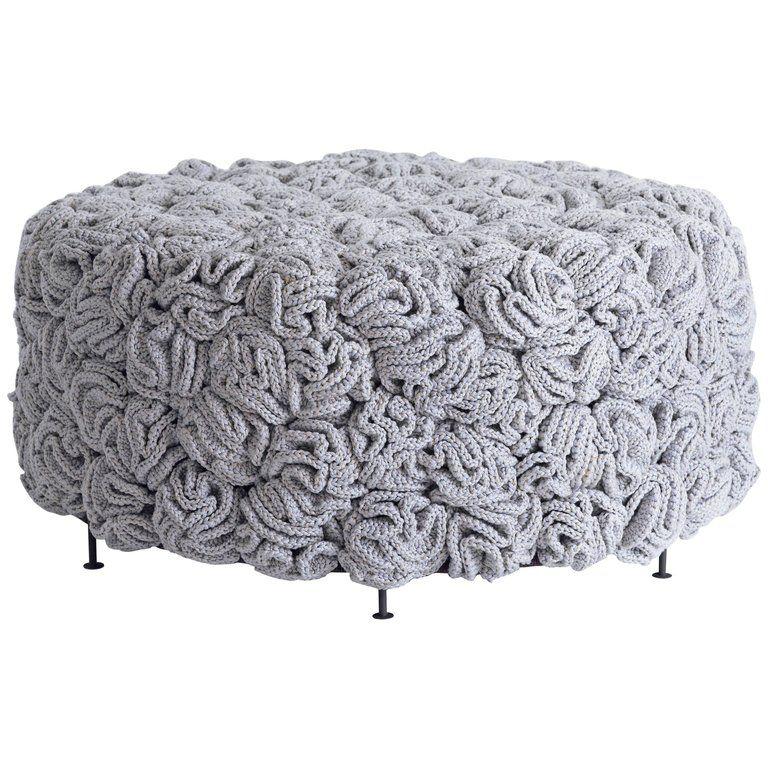 Handmade Crochet Elements Cotton and Polyester Grey Iota Pouf #crochetelements