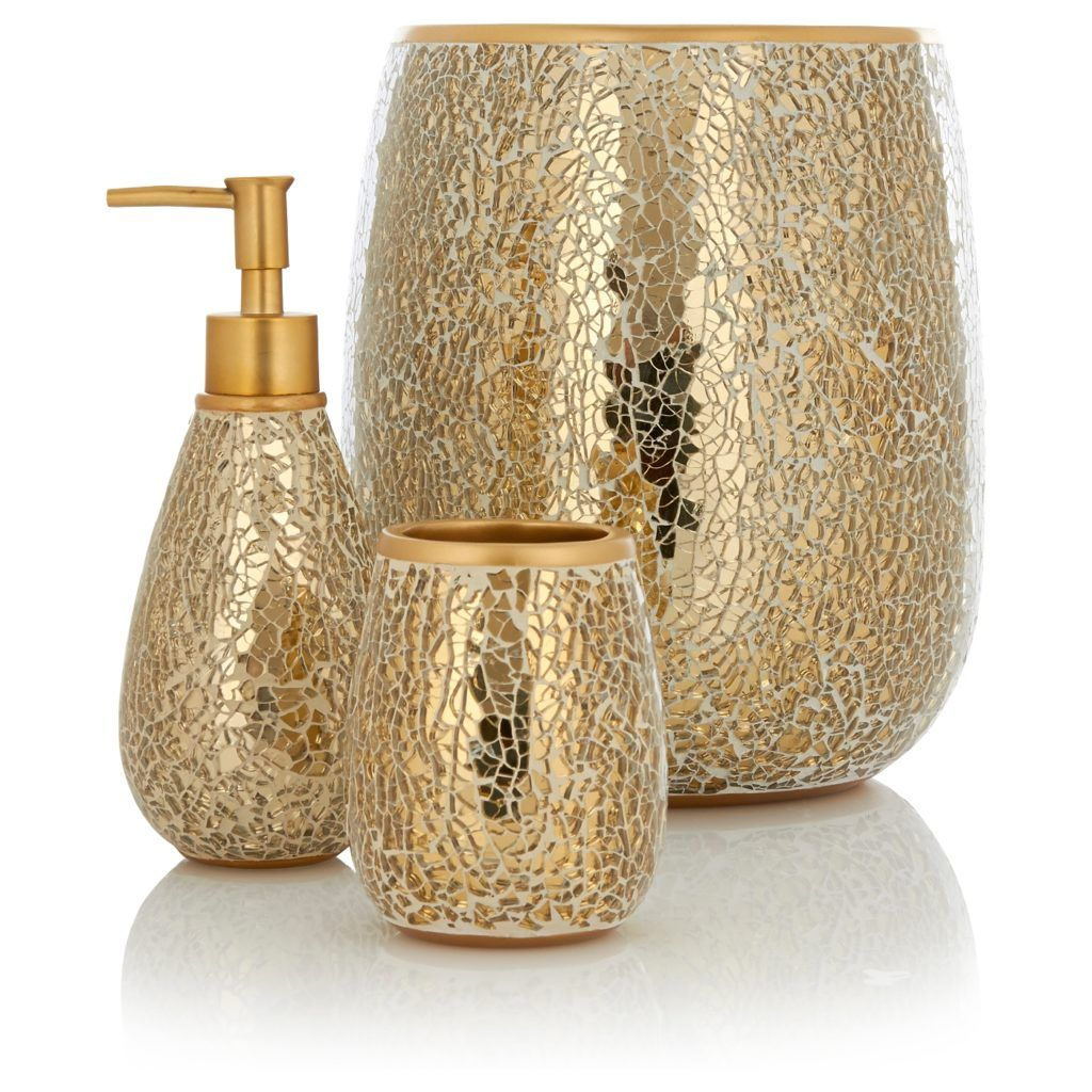 Attractive Gold Crackle Glass Bathroom Accessories