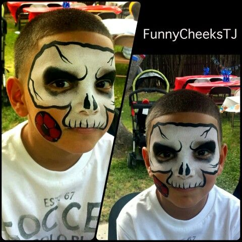 Face painting at a Fun Birthday party on Memorial Day Weekend by FunnyCheeksTJ - skull, skeleton