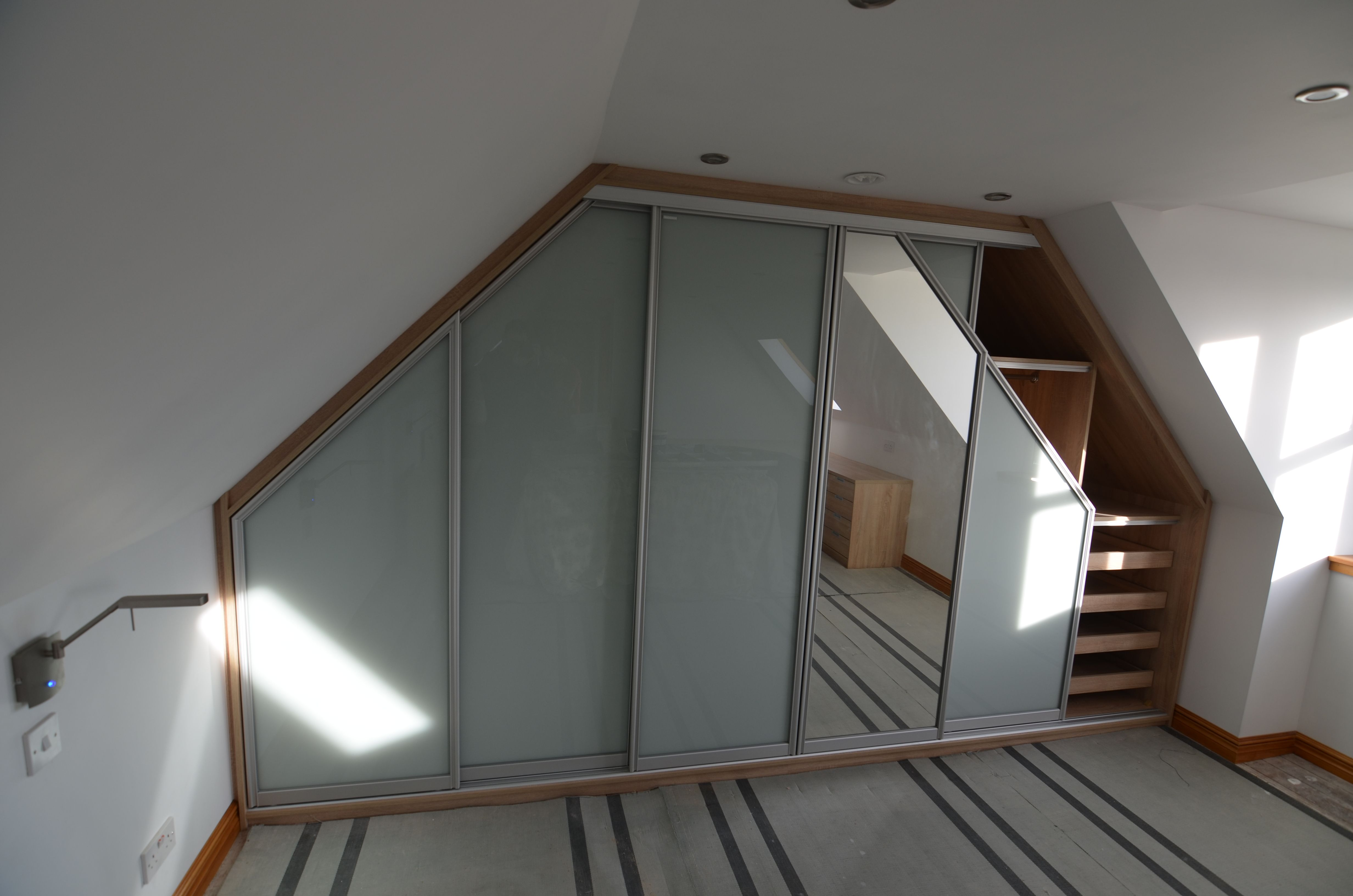 Lovely 6 Door Slanted Wardrobe For An Attic Room In Glossy Glass