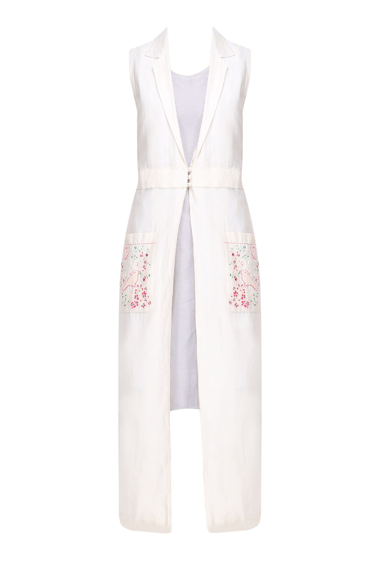 Ivory birds embroidered long jacket with slip dress available only at Pernia's Pop Up Shop.