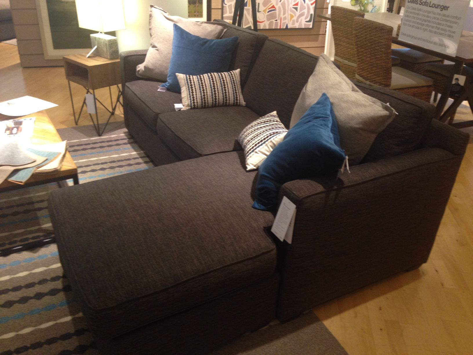 Crate Barrel Davis 3 Seat Lounger Sectional Couch Sofa Home
