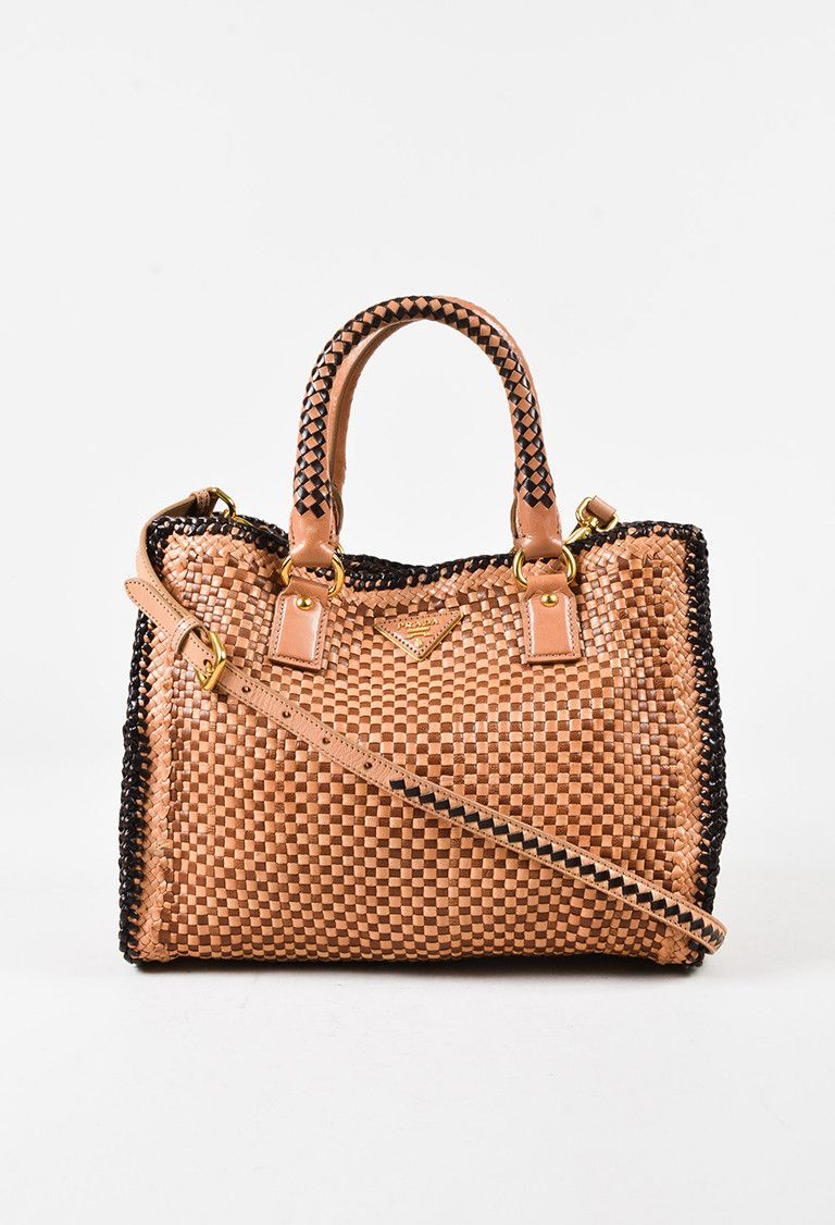 Prada Brown Leather Woven Top Handle Crossbody Madras Tote Luxury Garage