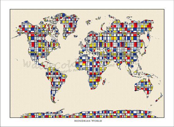 Carte Du Monde Carte Du Monde Mondrian Art Piet Mondrian