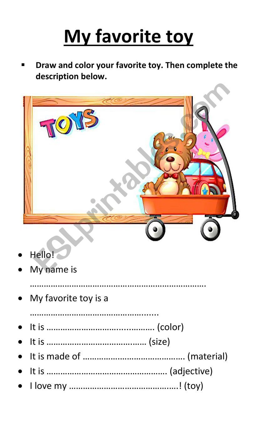 My Favorite Toy Esl Worksheet By Arielukas English Lessons For Kids Lessons For Kids Vocabulary Activities