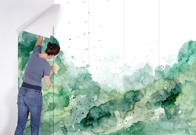 Pin On Modern Watercolor Green and white wallpaper for walls