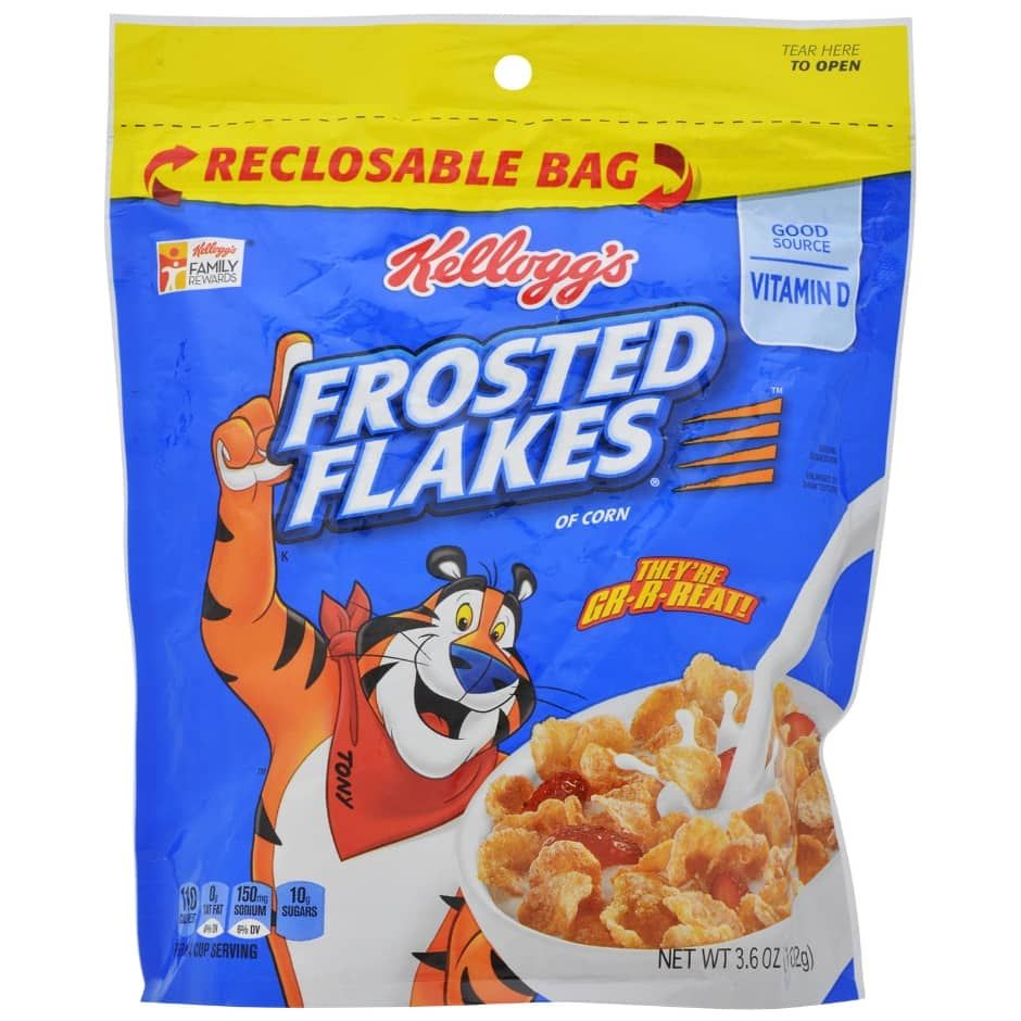 Kellogg S Frosted Flakes Cereal 3 6 Oz Bags Cereal Kelloggs