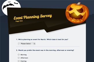 some event planning survey examples including event registration