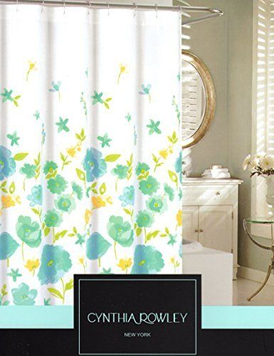Cynthia Rowley Watercolor Large Poppy Seed Flowers Cotton Shower Curtain  Floral Design Turquoise Green Yellow 72  Cynthia Rowley Curtains