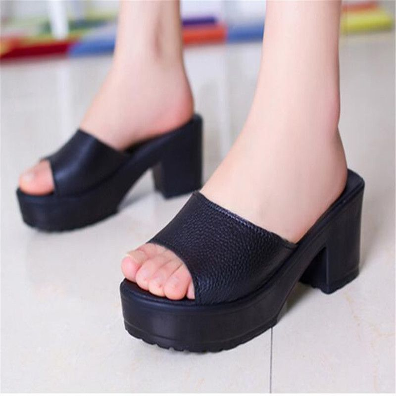 Summer Shoes Fashion Shoes Women High Heel Slippers Leather Soft ...