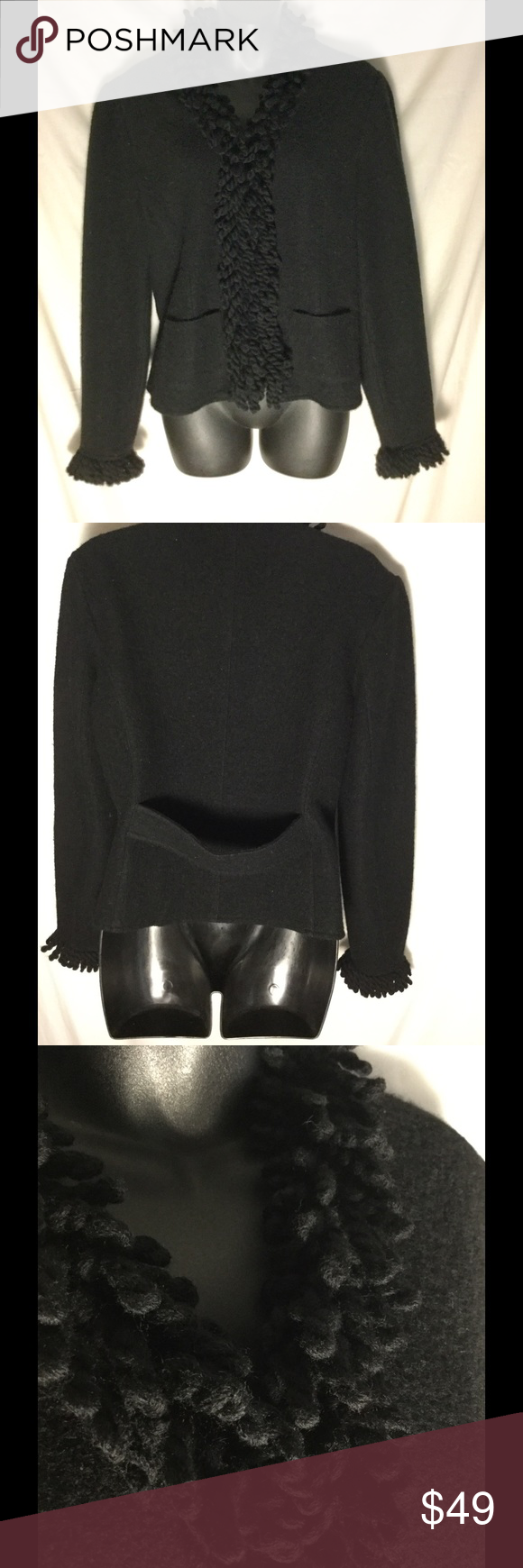 """Talbots boiled wool fringe snap cardigan S Very nice condition, near new nicely fringed cuff and front cardigan. Boiled wool. Size Small. Bust armpit to armpit 21 inches. Length center back under collar to end of hem. 21 1/2 inches. Sleeves from shoulder 24"""". Nice back belt.   Great for holidays Talbots Sweaters Cardigans"""