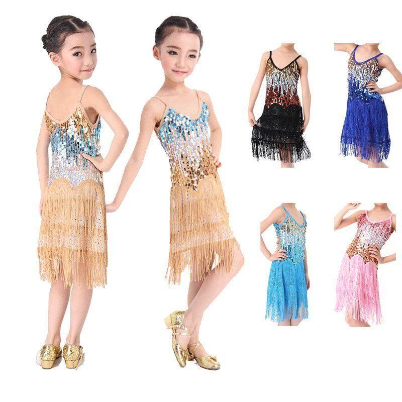 kids Tasseled Ballroom Latin Dancewear Girls Party Dance Sequined Dress Costume