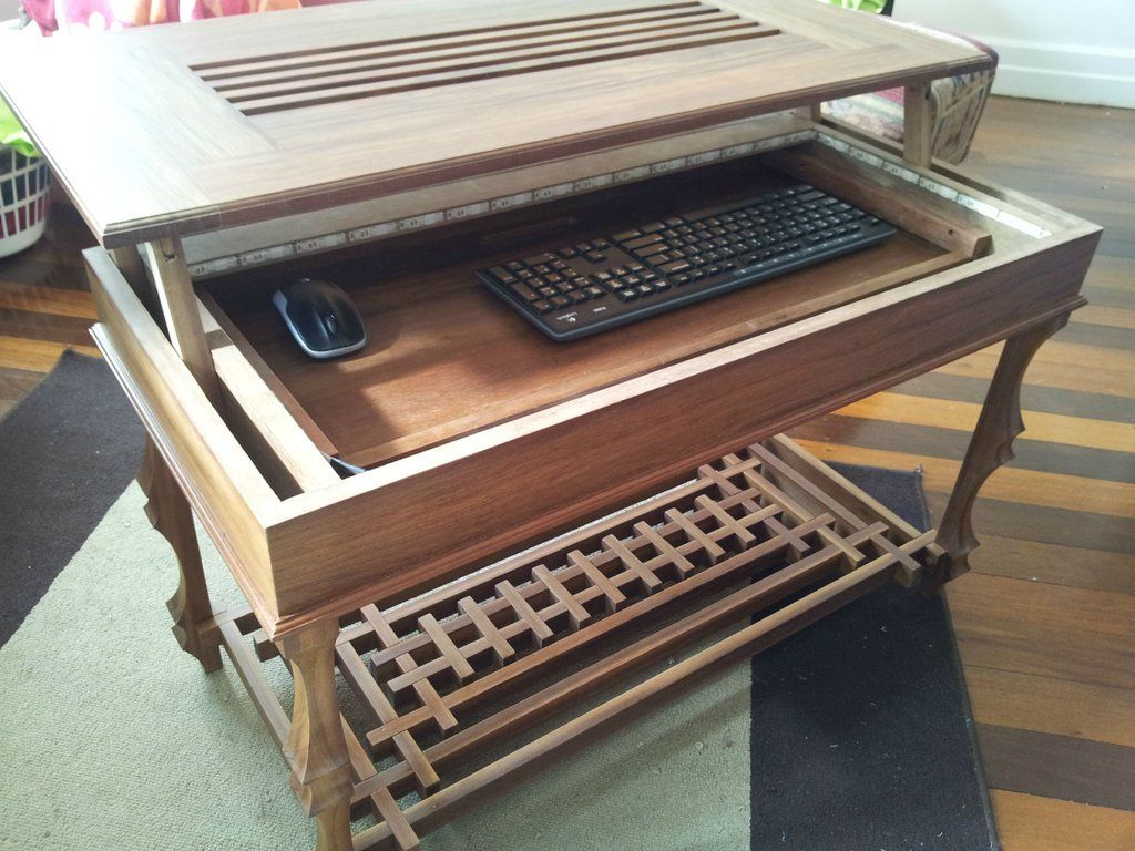 Lighted Coffee Table With Sliding Tray And Hinged Lid