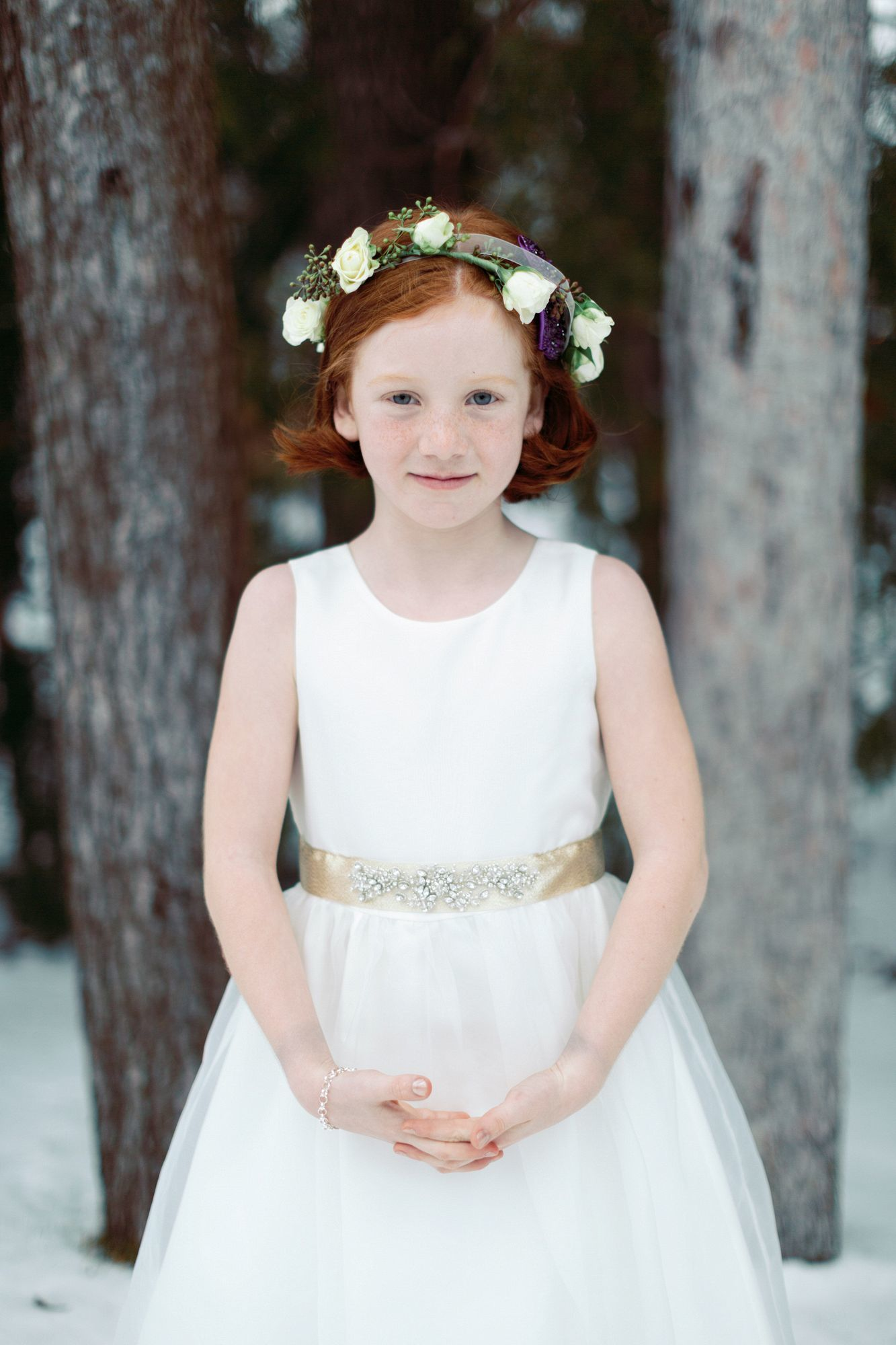 Although cold outside this winter wedding warmed hearts everywhere flower girl wearing floral crown photography blaine siesser photographer izmirmasajfo
