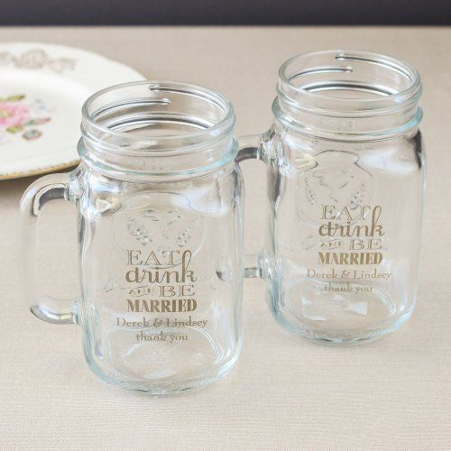 Personalized Printed Mason Jar Mug Favors Pinterest Mason Jar