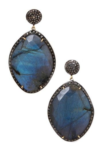 Pave Diamond Labradorite Drop Earrings - 1.95 ctw