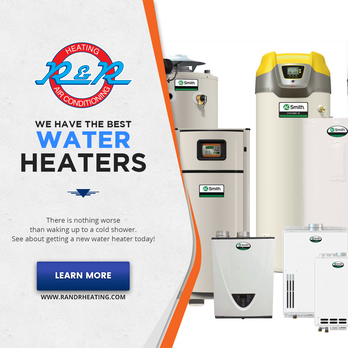 In need of a new water heater? Call R&R Heating & Air
