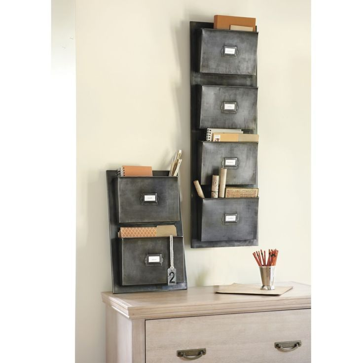Furniture Old And Vintage 2 Metal Wall Mounted File Or Letter Organizer With 4 Pockets Above Wood Chest Of Drawer Ideas