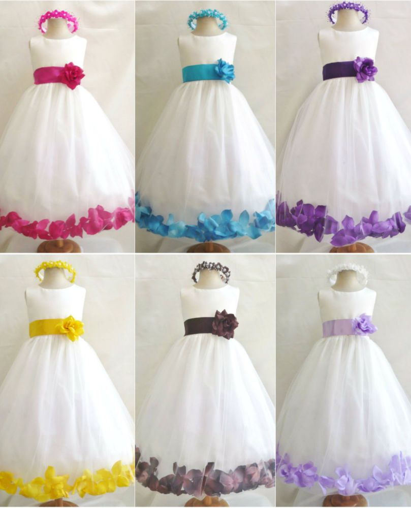 Details about new ivory turquoise fuchsia purple lilac brown rose details about new ivory turquoise fuchsia purple lilac brown rose petals flower girl dress ombrellifo Gallery