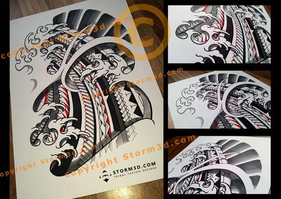 Japanese And Polynesian Mixed Tattoo Design With Fingerwaves Maori Tattoo Polynesian Tribal Polynesian Tattoo