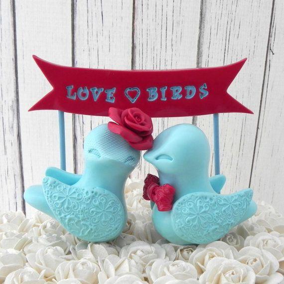 wedding cake topper love birds cherry red and robin egg